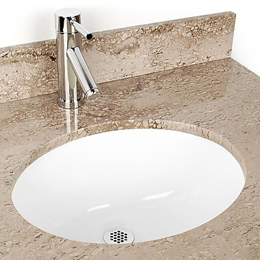 D'Vontz Small China Oval Undermount sink Bathroom Sink; White