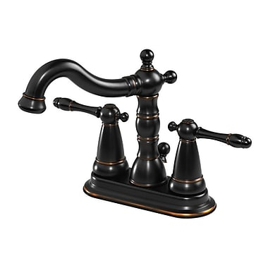 Aqueous Faucet Ballymore Victorian Double Handle Centerset Bathroom Faucet; Brushed Bronze
