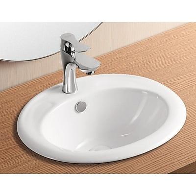 Caracalla Ceramica II Ceramic Oval Drop-In Bathroom Sink w/ Overflow