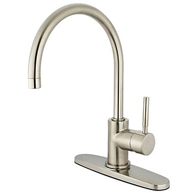 Elements of Design South Beach Single Handle Kitchen Faucet w/ Plate; Satin Nickel