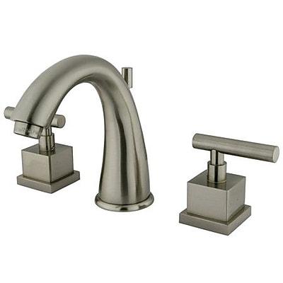Kingston Brass Claremont Widespread Bathroom Faucet w/ Brass Pop-Up Drain; Satin Nickel