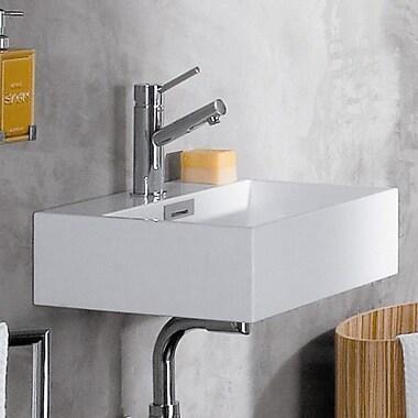 WS Bath Collections Linea Qaurelo 16.7'' Wall Mount Bathroom Sink w/ Overflow; No Hole
