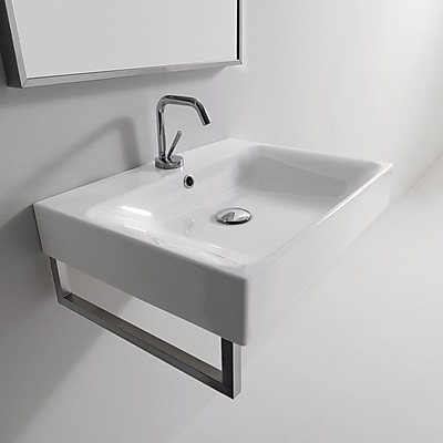 WS Bath Collections Cento Ceramic Ceramic Rectangular Vessel Bathroom Sink w/ Overflow