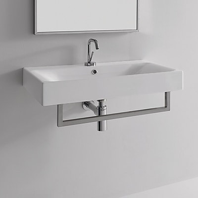 WS Bath Collections Cento Ceramic 28'' Wall Mount Bathroom Sink w/ Overflow