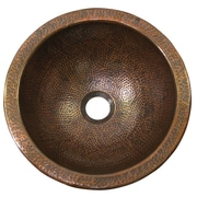 The Copper Factory Small Self-Rimming Bathroom Sink; Antique Copper