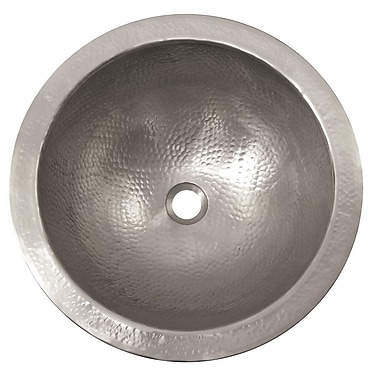 The Copper Factory Metal Circular Drop-In Bathroom Sink w/ Overflow; Satin Nickel