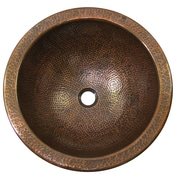 The Copper Factory Large Circular Undermount Bathroom Sink w/ Overflow; Antique Copper