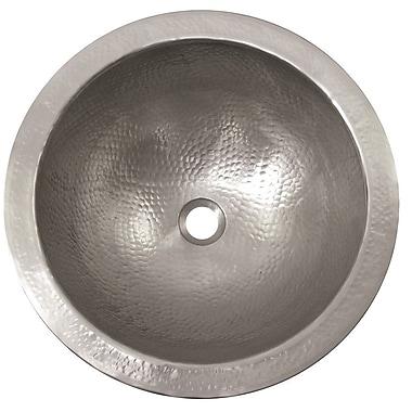 The Copper Factory Large Metal Circular Undermount Bathroom Sink w/ Overflow; Satin Nickel
