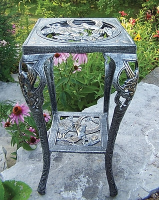 Oakland Living Hummingbird Novelty Plant Stand; Antique Pewter