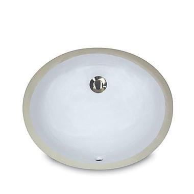 Nantucket Sinks Great Point Oval Undermount Bathroom Sink w/ Overflow; Bisque