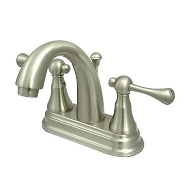 Elements of Design Victorian Centerset Double Handle Bathroom Faucet w/ Drain Assembly; Satin Nickel