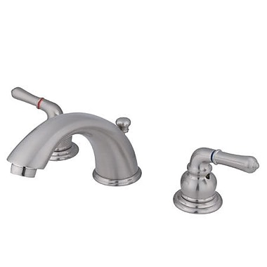 Elements of Design Magellan Widespread Bathroom Sink Faucet w/ Double Lever Handles; Satin Nickel