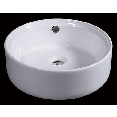 EAGO Ceramic Basin Circular Vessel Bathroom Sink w/ Overflow