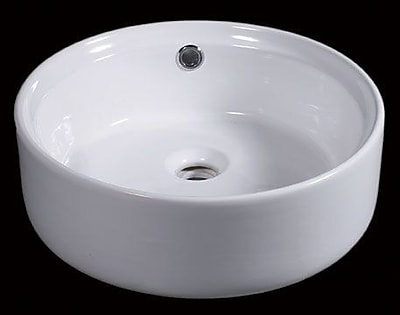 EAGO Ceramic Circular Vessel Bathroom Sink w/ Overflow