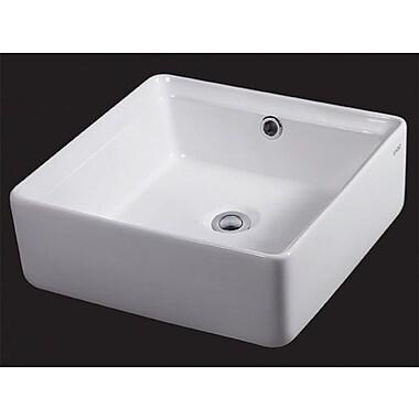 EAGO Ceramic Square Vessel Bathroom Sink w/ Overflow
