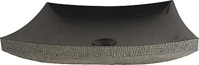 Quiescence Stone Sink Stone Specialty Vessel Bathroom Sink; Black Granite