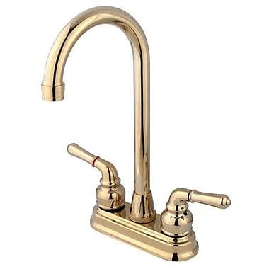 Elements of Design Magellan Centerset Bar Faucet w/ Magellan Lever Handles; Polished Brass