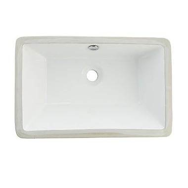Elements of Design Castillo Rectangular Undermount Bathroom Sink w/ Overflow; White
