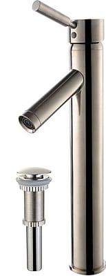 Kraus Sheven Single Hole Bathroom Faucet w/ Drain Assembly; Satin Nickel