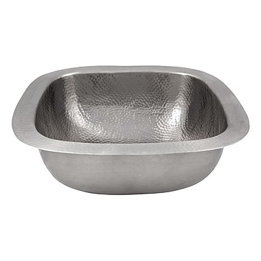 The Copper Factory 18'' x 18'' Hand Hammered Extra Large Square Bar Sink; Satin Nickel