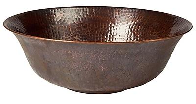 The Copper Factory Metal Circular Vessel Bathroom Sink; Antique Copper