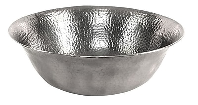 The Copper Factory Metal Circular Vessel Bathroom Sink; Satin Nickel
