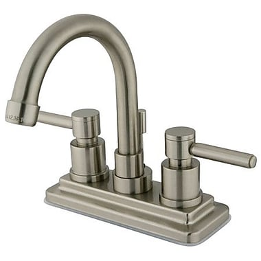 Elements of Design South Beach Double Handle Centerset Bathroom Faucet w/ Brass Pop-Up; Satin Nickel