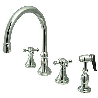 Elements of Design Deck Mount Double Handle Widespread Kitchen Faucet w/ Knight Cross Handle; Chrome