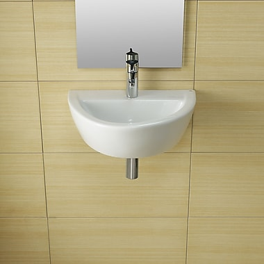 Bissonnet Universal Arq Porcelain 20'' Wall Mounted Bathroom Sink w/ Overflow