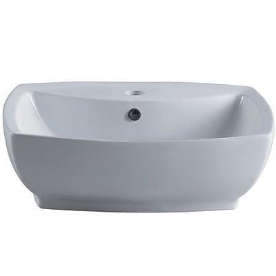 Elements of Design Marquis China Ceramic Rectangular Vessel Bathroom Sink w/ Overflow