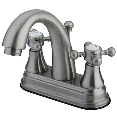 Elements of Design Elizabeth Centerset Bathroom Faucet w/ Double Cross Handles; Satin Nickel