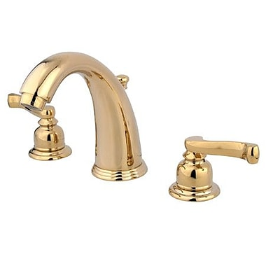 Elements of Design Widespread Bathroom Faucet w/ Double French Lever Handles; Polished Brass