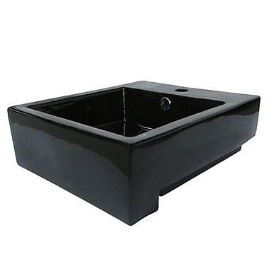 Elements of Design Citadel Ceramic 17'' Wall Mount Bathroom Sink w/ Overflow; Black