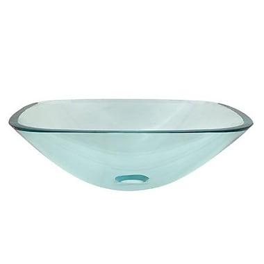 Elements of Design Temper Glass Square Vessel Bathroom Sink; Clear