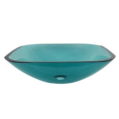 Elements of Design Temper Glass Square Vessel Bathroom Sink; Green