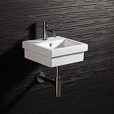 Bissonnet Area Boutique Logic 35 Ceramic 14'' Wall Mounted Bathroom Sink w/ Overflow