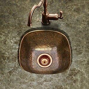 Houzer Hammerwerks 17.88'' x 17.88'' Flat Lip Bar/Prep Sink; Copper
