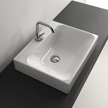 WS Bath Collections Cento Ceramic Rectangular Wall Mount Bathroom Sink