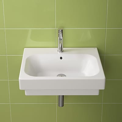 Bissonnet Universal Ceramic Rectangular Drop-In Bathroom Sink w/ Overflow