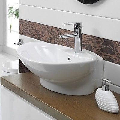 CeraStyle by Nameeks Rio Ceramic U-Shaped Vessel Bathroom Sink w/ Overflow