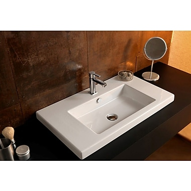 Ceramica Tecla Cangas Ceramic Rectangular Drop-In Bathroom Sink w/ Overflow; 8'' Centers