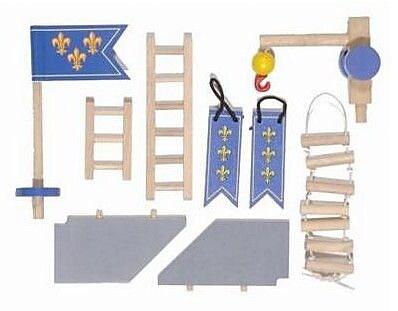 Le Toy Van Edix the Medieval Village Castle Accessories Set; Blue