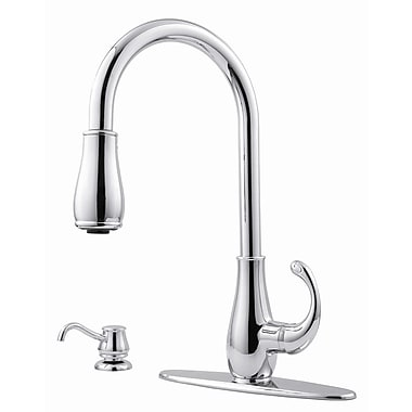 Pfister Treviso Single Handle Kitchen Faucet w/ Side Spray and Soap Dispenser; Polished Chrome