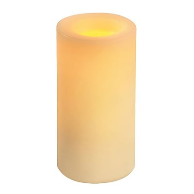 Inglow Wax Flameless Candle Round Vanilla-Scented Pillar with Timer 8