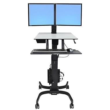 Ergotron® WorkFit-C Dual LCD Computer Stand, Black/Grey
