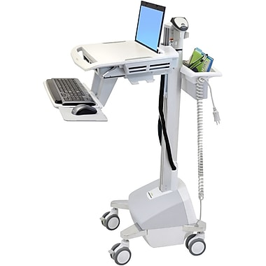 Ergotron® Styleview LiFe Powered EMR Laptop Cart, Grey/White