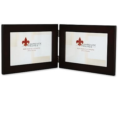 Lawrence Frames Wood Hinged Double Picture Frame; 6'' x 4''