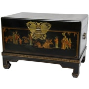 Oriental Furniture Lacquer Small Keepsake Trunk; Black Lacquer