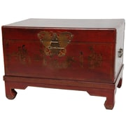 Oriental Furniture Lacquer Small Keepsake Trunk; Red Lacquer