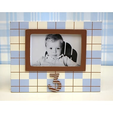 New Arrivals Plaid 3rd Birthday Picture Frame; Blue / Chocolate